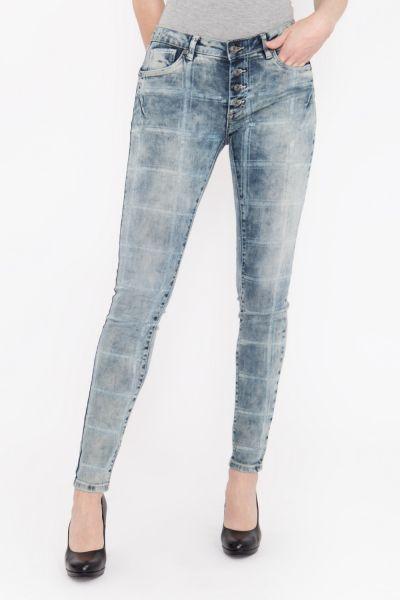 BLUE MONKEY Skinny Fit Jeans mit offener Knopfleiste und großflächigem Druck Alexis 1720