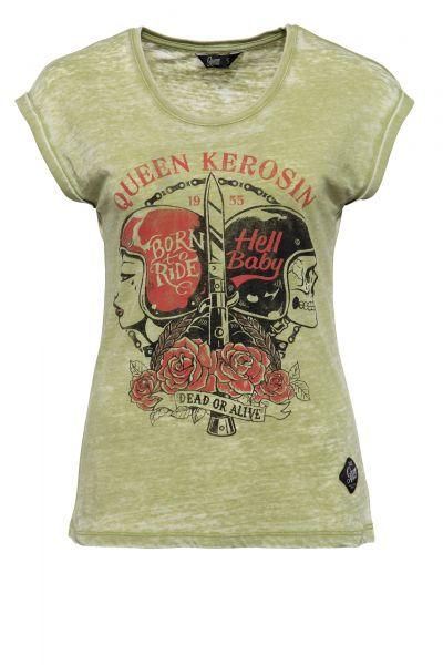 QUEEN KEROSIN Damen T-Shirt Enzyme Wash und Print in der Front Hell Baby