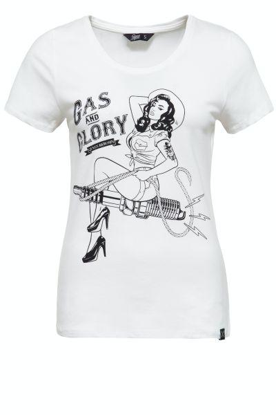 QUEEN KEROSIN Damen T-Shirt mit Pin Up Print Gas & Glory
