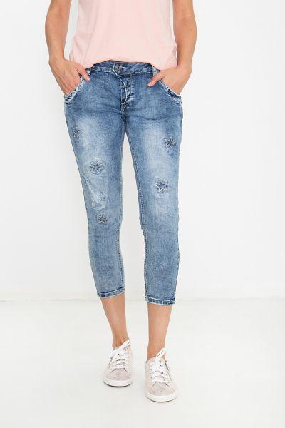 BLUE MONKEY Capri Jeans mit Sternen Applikationen Manie 1906