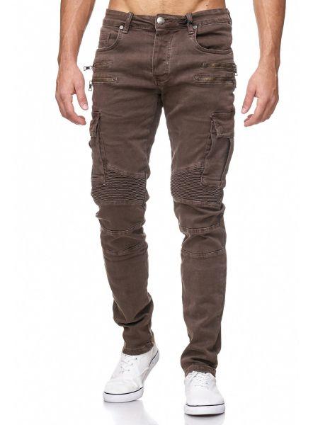 YC Herren Jeans Cargo Slim braun