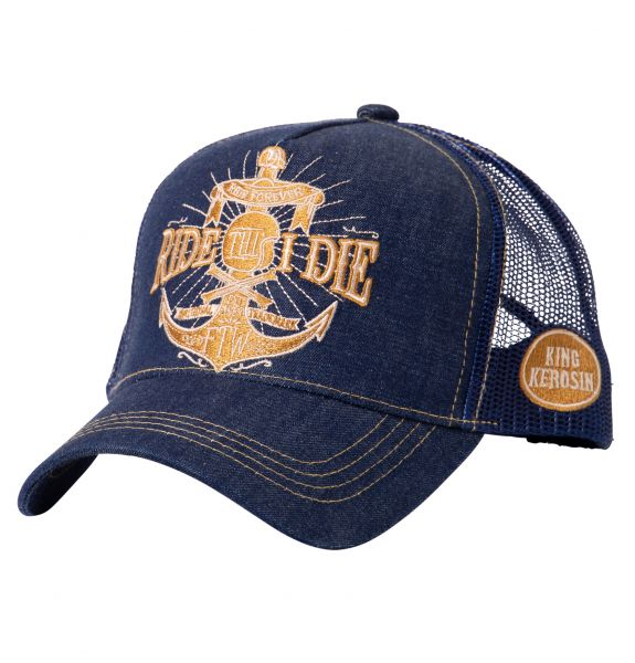 KING KEROSIN Denim Trucker Cap mit goldfarbener Stickerei Ride Till I Die