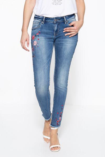 BLUE MONKEY Skinny Fit Jeans mit Blumenstickereien