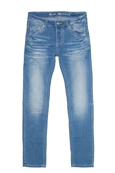 BLUE MONKEY Slim Fit Jeans mit markanten Absteppungen Freddy 4471