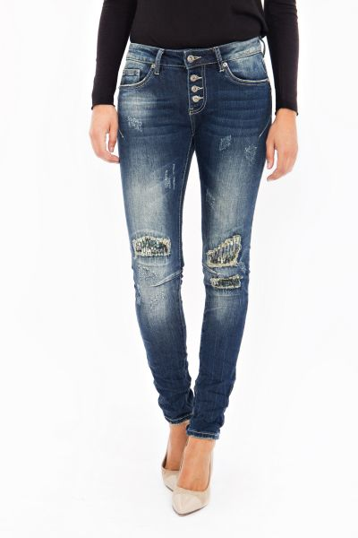 BLUE MONKEY Skinny Jeans mit Pailletten Patches Grace 1683
