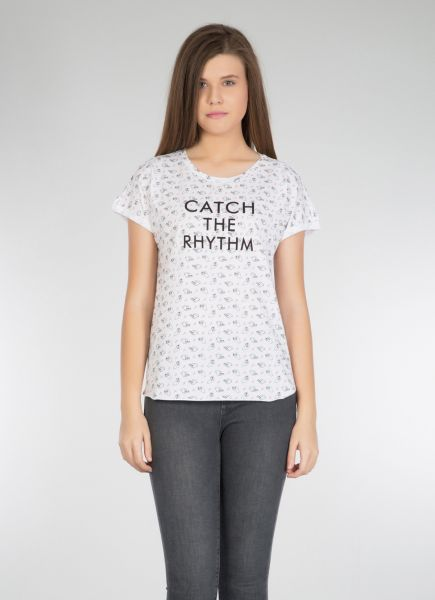 COLINS Shirt mit Alloverdruck mit Alloverdruck und Slogan