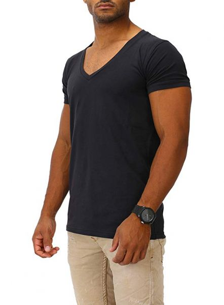 Joe Franks Herren Basic T-Shirts V-Neck DEEP