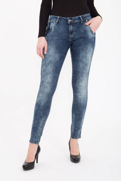 BLUE MONKEY Skinny Jeans im Materialmix mit aufgenähtem Glanzband Emma 1808