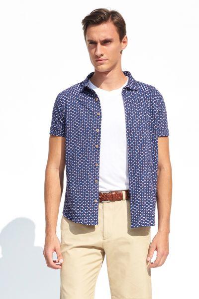 PORT ROYALE Poloshirt mit durchgängiger Knopfleiste und Allover-Muster