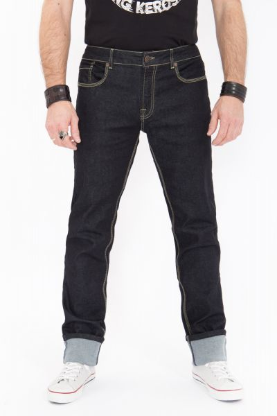 KING KEROSIN Regular Fit Jeans in Rinse Wash mit Kontraststepps Robin Robin