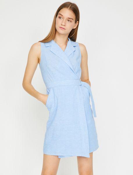 KOTON Kleid in Wickeloptik mit Kragen