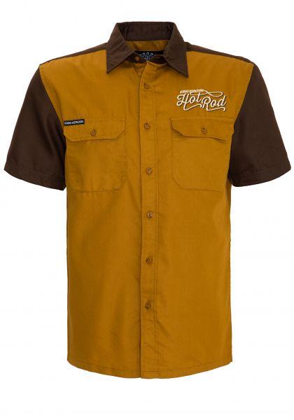 KING KEROSIN Kurzarmhemd 2-farbig mit Stickereien Hot Rod