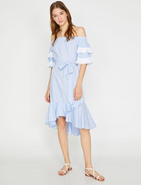 KOTON Sommerkleid mit Fransenborte an den Ärmeln