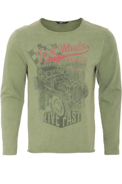 KING KEROSIN Langarmshirt im Used-Look mit Print fast wheels