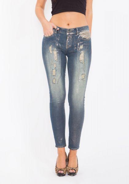 BLUE MONKEY Skinny Jeans bedruckt mit Destroyed Effekten Honey 1276