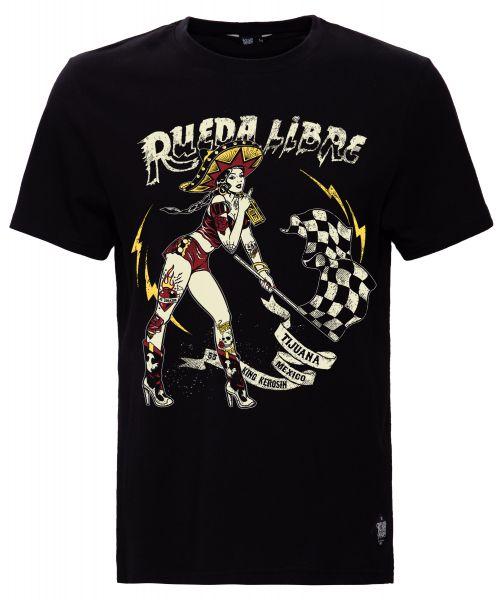 KING KEROSIN Print T-Shirt mit Front Print Rueda Libre