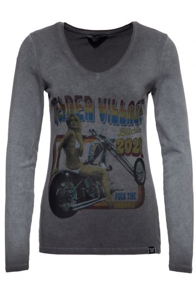 Slim Fit Longsleeve mit Retro-Print und Oilwash-Effekt »Velden Village 2020«