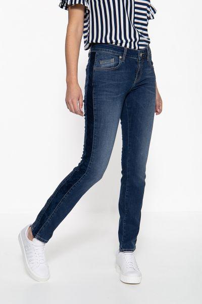 ATT JEANS Slim Fit Jeans mit aufgestepptem Band an den Seiten Belinda