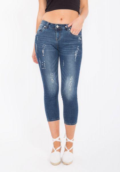 BLUE MONKEY Capri Jeans mit Perlen und Ziersteinen besetzt Pearl 3773