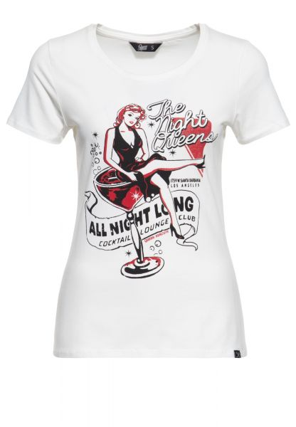 Slim Fit T-Shirt mit Retro-Print »All night  long«