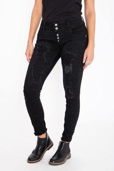 BLUE MONKEY Skinny Fit Jeans mit Destroyed-Effekten und offenen Saumkanten Marie 10044