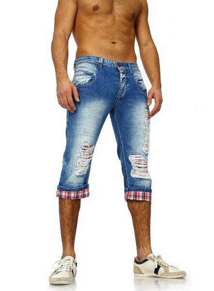 Zerrissene Jeans Shorts für Herren von ReRock blau/rot