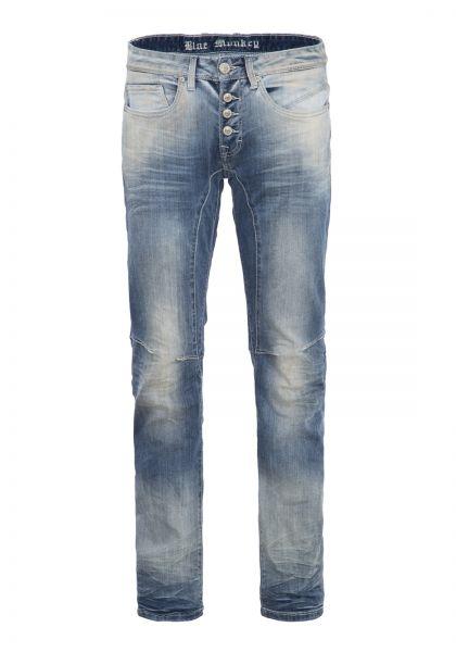 BLUE MONKEY Slim Fit Jeans mit Knopfverschluss und Abnähern Andy 2062