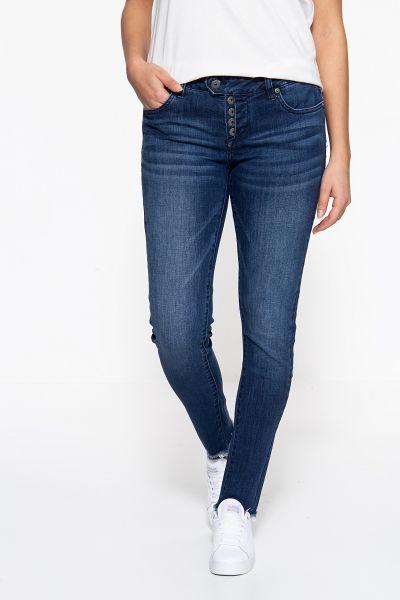 BLUE MONKEY Skinny Fit Jeans »Ruby 7239« mit Halbverdeckter Knopfleiste und offenen Kanten Ruby 7239