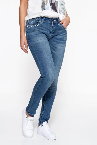 BLUE MONKEY Skinny Fit Jeans »Laura 7240« mit perlenbestickten Eingrifftaschen Laura 7240