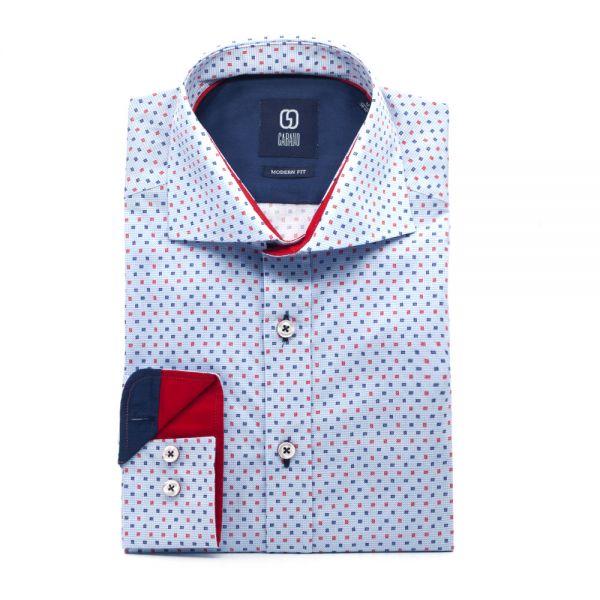 GABANO Langarmhemd mit kleiner Kontrastmusterung