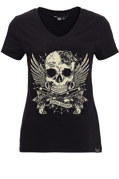 QUEEN KEROSIN T-Shirt mit Schädel-Print in der Front