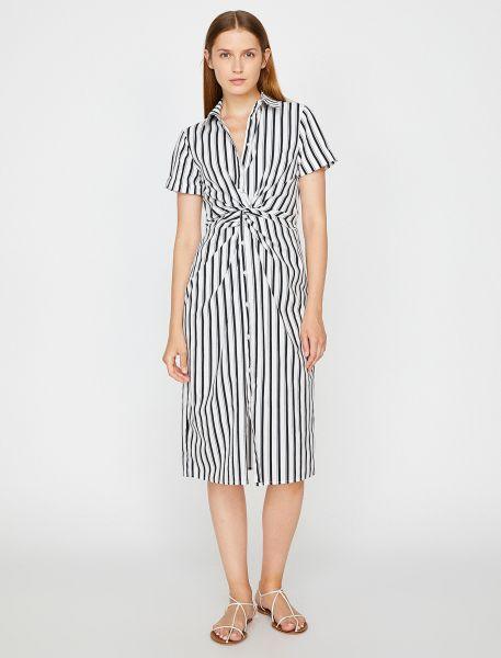 KOTON Hemdblusenkleid mit Streifenmuster