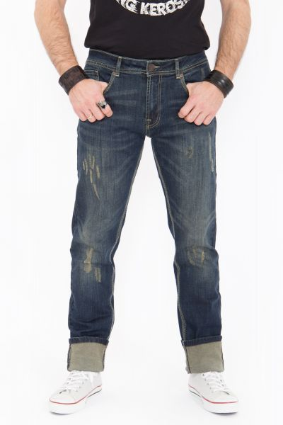KING KEROSIN Farmer Jeans Destroyed Coffee Look
