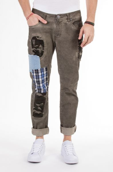 BLUE MONKEY Slim Fit Jeans mit Stoffpatches Tommy 4369