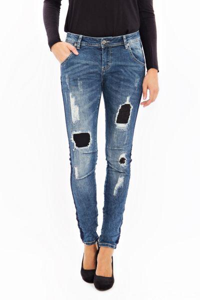 BLUE MONKEY Skinny Jeans mit unterlegten Patches, Destroyed Look Tina 1523