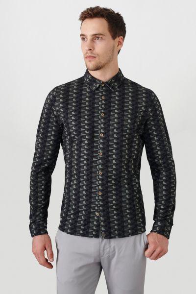 PORT ROYALE Langarm-Hemd mit durchgängiger Knopfleiste und Allover-Muster