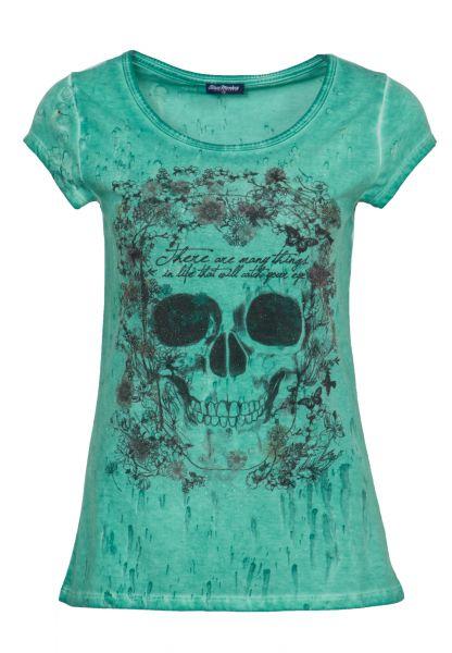 BLUE MONKEY Rundhalsshirt mit Pailletten-Motiv FLOWER SKULL
