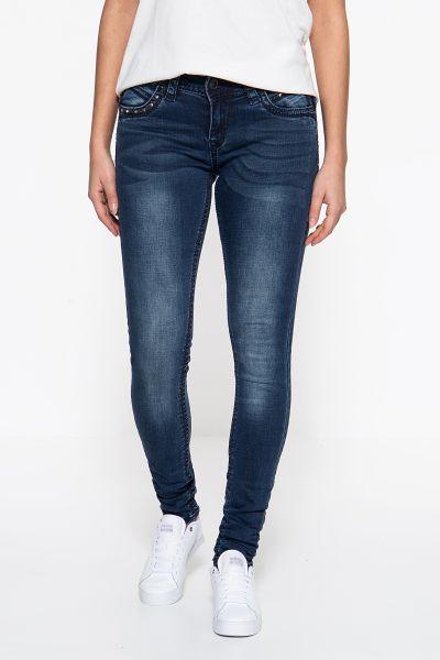 BLUE MONKEY Skinny Fit Jeans »Stacy 3986« mit markanten Absteppungen und Schmucksteinen Stacy 3986