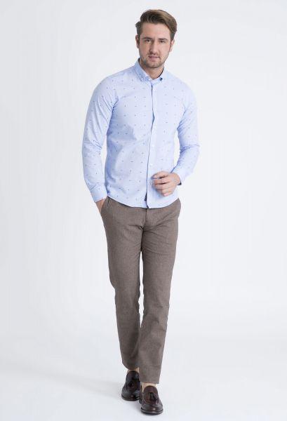 LUFIAN Slim Fit Hemd mit modernem Webmuster England
