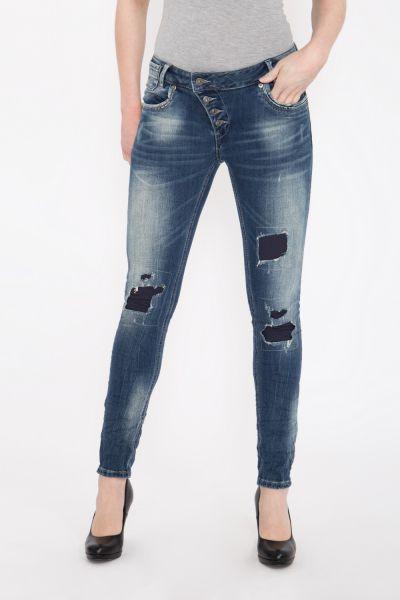 BLUE MONKEY Skinny Jeans mit Ziersteppungen und Pailletten