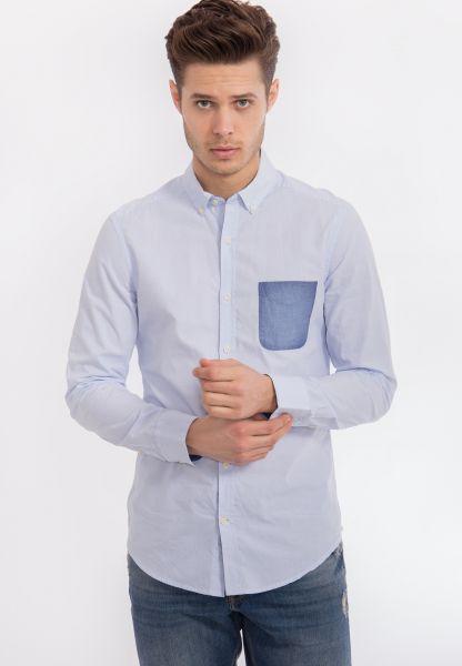 MEXX Herren Hemd in Chambray Qualität mit aufgesetzter Tasche