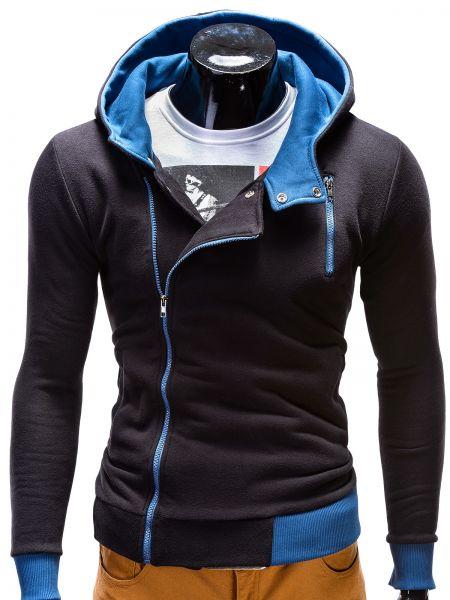 OMBRE Kapuzen-Sweatjacke mit asymmetrischem Reißverschluss und Kontrastdetails