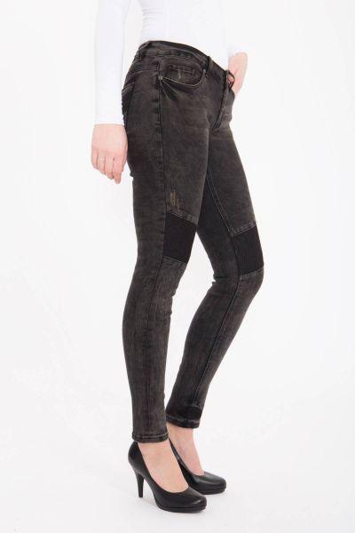 BLUE MONKEY Skinny Jeans mit Einsätzen aus Spitze, Used Look Honey 7099