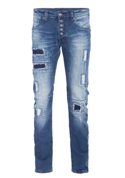 BLUE MONKEY 5 pocket slim fit Jeans mit Patches und Abriebstellen Andy 4364