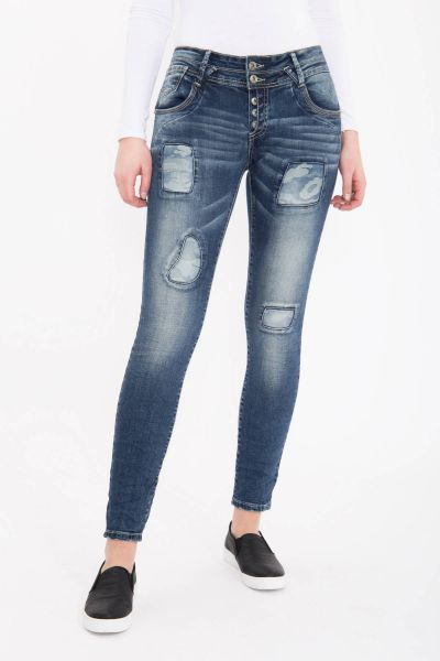 BLUE MONKEY Skinny Jeans mit Patches in Tarnmuster Marie 1751