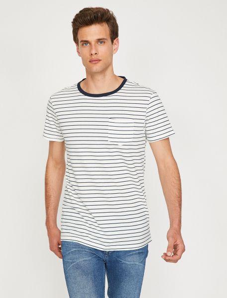 KOTON T-Shirt mit feinen Querstreifen und Brusttasche
