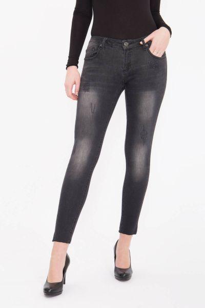 BLUE MONKEY Skinny Jeans mit cleaner Waschung und hellen Abriebeffekten Honey 7094