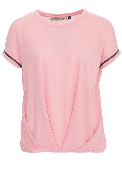 WAY OF GLORY Shirt mit Falten und Ziersteinen