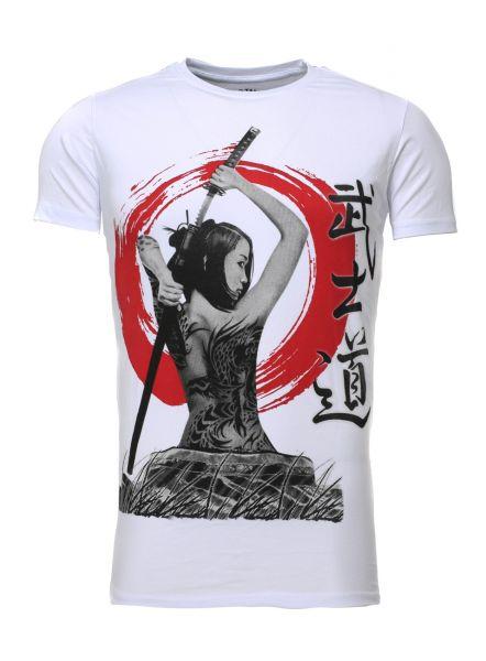 AKITO TANAKA Rundhalsshirt mit Geisha Motivdruck