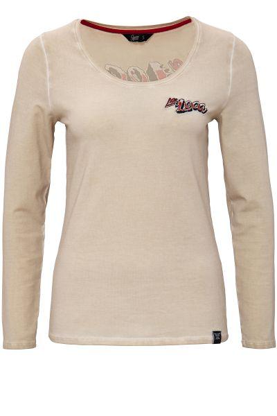 QUEEN KEROSIN Longsleeve Shirt mit Backprint und Oilwash-Effekten La Loca